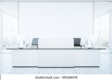 White reception desk and blank banner in interior with city view. Mock up, 3D Rendering