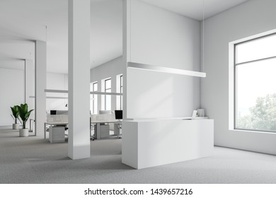 White reception table with laptop standing in modern office corner with white walls, carpeted floor and stylish ceiling lamps. 3d rendering