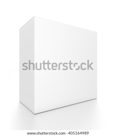 05eb46a7fc3d2 White rectangle blank box from front side angle. 3D illustration isolated  on white background.