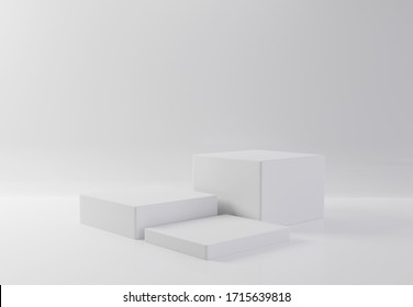 White rectangle cube product showcase table on isolate background. Abstract minimal geometry concept. Studio podium platform. Exhibition and business presentation stage. 3D illustration render graphic
