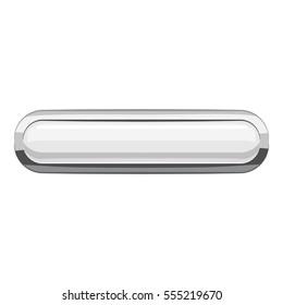 White rectangular button icon. Cartoon illustration of rectangular button  icon for web design