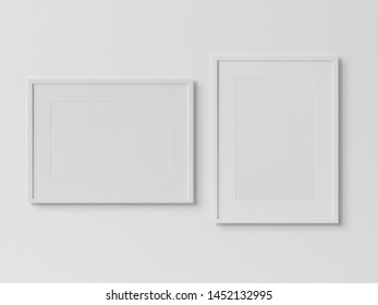 White rectangular frames hanging on a white textured wall mockup 3D rendering