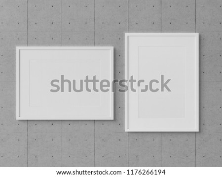White Rectangular Frames Hanging On Concrete Stock Illustration ...