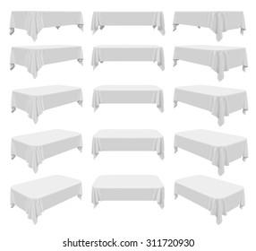 White rectangular rounded tablecloth set isolated on white, 3d illustration