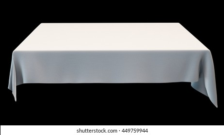 White rectangular tablecloth mock up isolated on black. 3d illustration.