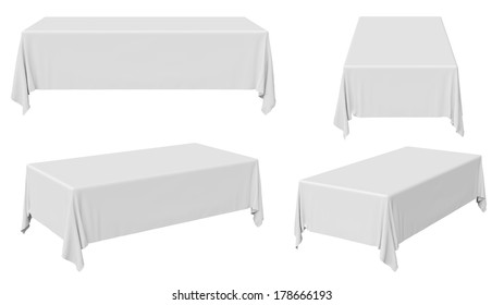 White rectangular tablecloth set isolated on white, 3d illustration