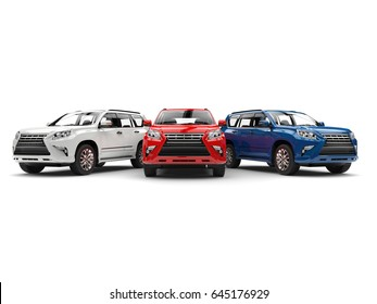 White, red and blue modern SUVs - front view - 3D Illustration