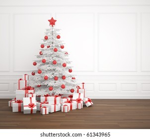White and red christmas tree dacorated with a pile of presents in an empry white room, copy space placed right