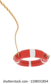 White and Red Lifebuoy with the Rope Thrown in the Air Isolated on White Bakground. 3D Illustration Rescue Concept.