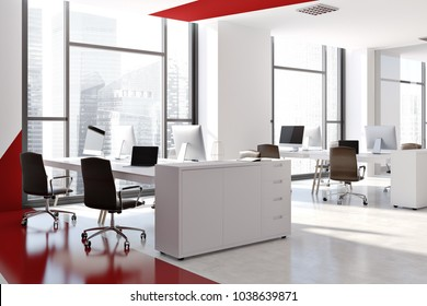 White and red office interior with white computer tables, black chairs, and a white and red. A side view. 3d rendering mock up