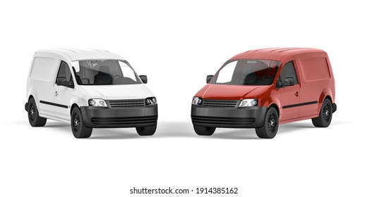 White and Red Van on a white background - Front view - 3D render