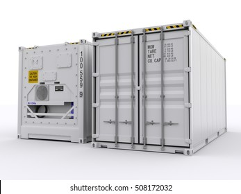 White reefer container 3d rendering