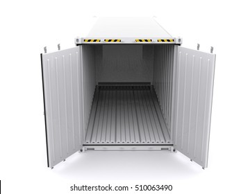 White reefer container open 3d rendering