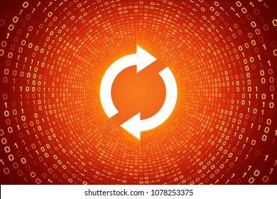 White refresh icon inside yellow binary tunnel on orange background. Technology and connection concept. 3d rendered illustration. More icons and color options available in my portfolio.