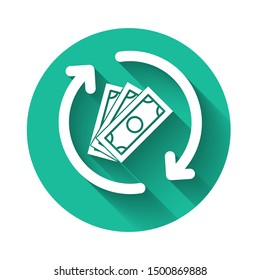 White Refund money icon isolated with long shadow. Financial services, cash back concept, money refund, return on investment, savings account. Green circle button