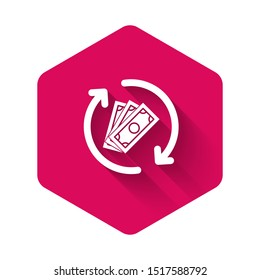 White Refund money icon isolated with long shadow. Financial services, cash back concept, money refund, return on investment, savings account. Pink hexagon button