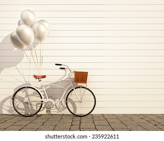 white retro bicycle with basket and balloons in front of the white wall, background, 3D illustration