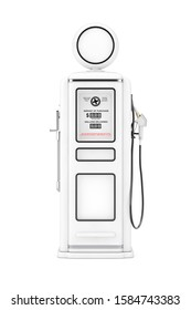 White Retro Gas Pump in Clay Style on a white background. 3d Rendering