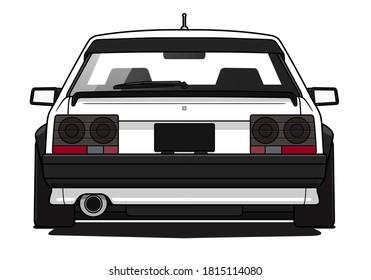 White Retro sports car. Rear view. japanese car.