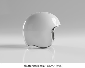 White retro vintage motorbike helmet isolated on white background Mockup 3D rendering