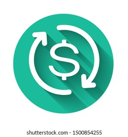 White Return of investment icon isolated with long shadow. Money convert icon. Refund sign. Dollar converter concept. Green circle button