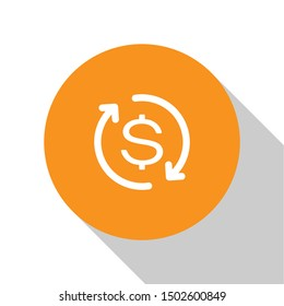 White Return of investment icon isolated on white background. Money convert icon. Refund sign. Dollar converter concept. Orange circle button. Flat design