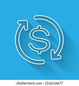 White Return of investment icon isolated with long shadow. Money convert icon. Refund sign. Dollar converter concept