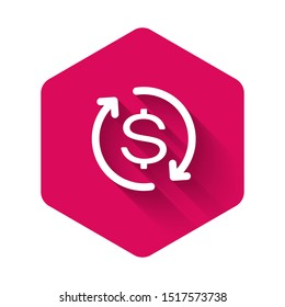 White Return of investment icon isolated with long shadow. Money convert icon. Refund sign. Dollar converter concept. Pink hexagon button