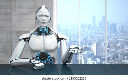 A white robot in the business room. 3d illustration.