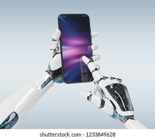 White robot hand holding modern smartphone mockup on grey background 3d rendering