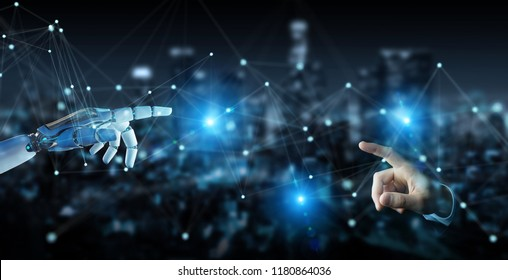 White robot hand on blurred background using digital network connection 3D rendering