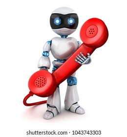 White robot and old red telephone. 3d illustration