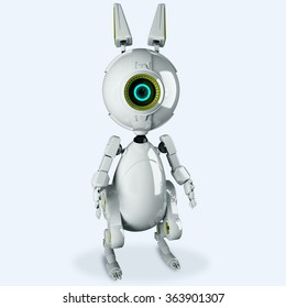 White robot rabbit with one eye looking at you. Robotic rabbit. Banny bot 3d render