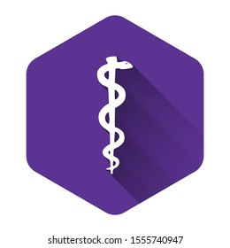 White Rod of asclepius snake coiled up silhouette icon isolated with long shadow. Emblem for drugstore or medicine, pharmacy snake symbol. Purple hexagon button
