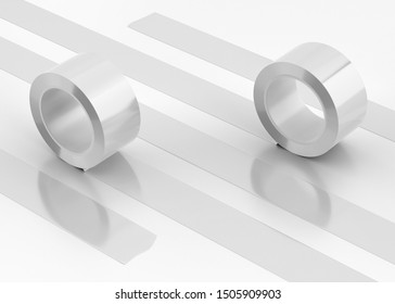 White Roll Duct Tape, 3D Rendered on light gray background