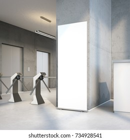 White rollup banner at the entrance of modern office building. 3d rendering