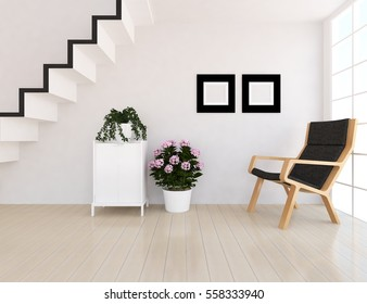 white room with a armchair. Living room interior. Scandinavian interior design. 3d illustration