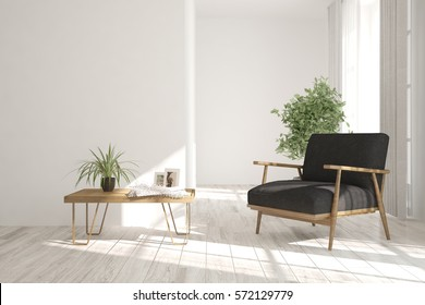 White room with armchair and table. Scandinavian interior design. 3D illustration