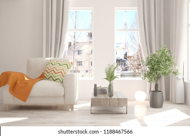 white room with armchair and winter landscape in window scandinavian interior design 3d illustration