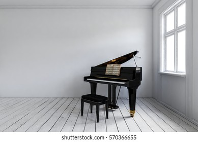 White room with black piano with chair standing in corner near bright window. Minimalist interior design with copy space. 3d rendering.
