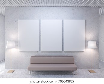White room with blank poster on wall, canvas mockup, frame 3d rendering