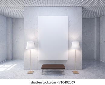 White room with blank poster on wall, mockup 3d rendering