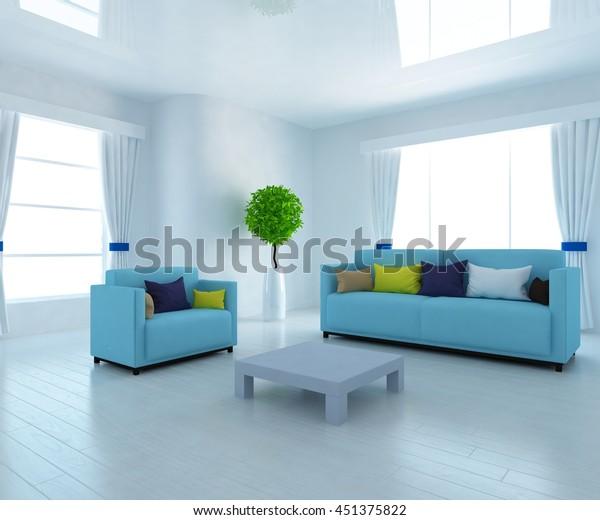 Brilliant White Room Blue Sofa Living Room Stock Illustration 451375822 Inzonedesignstudio Interior Chair Design Inzonedesignstudiocom