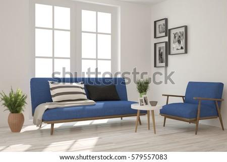 White Room Blue Sofa Scandinavian Interior Stockillustration ...