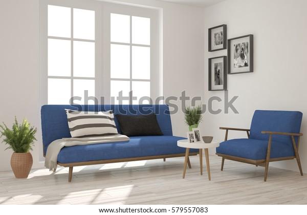 Astonishing White Room Blue Sofa Scandinavian Interior Stock Inzonedesignstudio Interior Chair Design Inzonedesignstudiocom