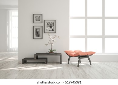 White room with chair. Scandinavian interior design. 3D illustration