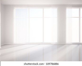 white room and white curtains