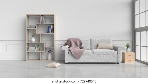 White room decorated with cream sofa,tree in glass vase, cream pillows, Wood bedside table, Bookcase, Blanket, Window, Cream carpet White cement wall it is pattern, white cement floor. 3d rendering.