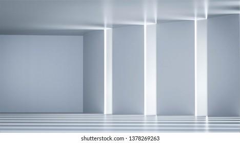 white room empty wiith sun light,3D render.