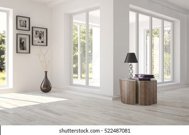 White room with furniture and green landscape in window. Scandinavian interior design. 3D illustration
